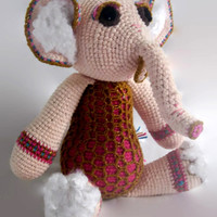 crochet elephant plush doll, ganesh, scented, calming, fiber art doll, amigurumi, wool stuffed doll, cotton, pink, gold