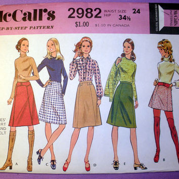 Women's Dress or Top and Pants Misses' Size 10 1970's Retro McCalls 2982 Vintage Sewing Pattern Uncut