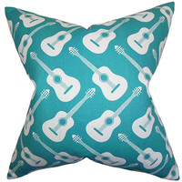 The Pillow Collection P18-PP-ACOUSTIC-TRUETURQUOISE- Roxie Blue 18 x 18 Geometric Throw Pillow