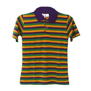 Mardi Gras Kids Polo Shirt (Thin Stripe)