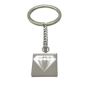 Silver Toned Etched Diamond Image Keychain