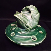 Art Pottery Flower Frog Matte Glaze Lotus Blossom Lily Pad Water Lily 1930s