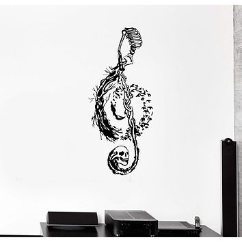 Wall Decal Treble Clef Bird Skeleton Skull Pattern Vinyl Sticker Unique Gift (ed569)