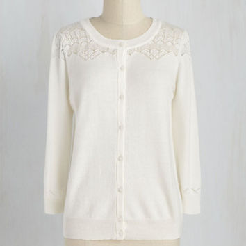 Fairytale Mid-length Long Sleeve Bake-Off the Charts Cardigan in Vanilla Icing