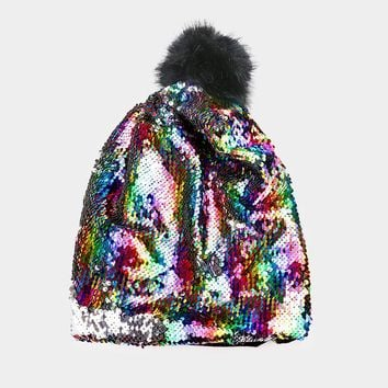 multi sequin hat beanie