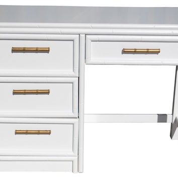 White Lacquered Faux-Bamboo Desk