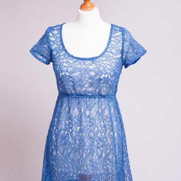 Royal blue vintage corded lace fabric dress, handmade, etsy uk
