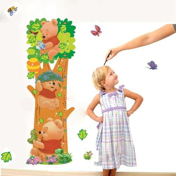 DIY Cartoon Winnie the Pooh Animal Measurement of height Wall Stickers Nursery Kids Room Home Decor Mural Decal Poster