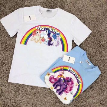DCCKVQ8 Moschino' Women Fashion Casual Cartoon Pony Rainbow Print Short Sleeve T-shirt Tops
