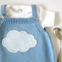 Knitted overalls in sky blue with a cloud. 100% cotton. READY TO SHIP size 1-3 months