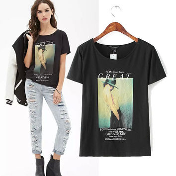 Stylish Women's Fashion Alphabet Print Short Sleeve T-shirts [5013420484]