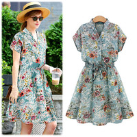 Blue Vintage Floral Print Short Sleeve Asymmetrical Closing Skater Dress