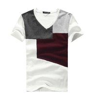 Men Colour Block V Neck Short Sleeve Pullover Tee Shirt