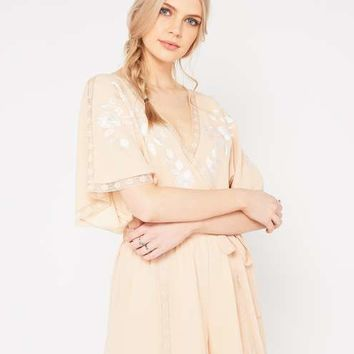 Peach Embroidered Playsuit - Embroidery - Clothing