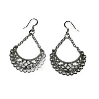 Silver Half Moon Chandelier Dangle Earrings