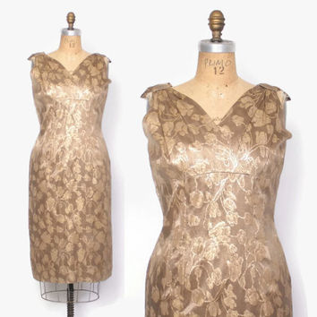Vintage 60s Cocktail DRESS / 1960s Metallic Gold Floral Brocade Party Dress L