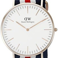 Daniel Wellington Men's 0102DW Analog Quartz Canterbury Round Striped Band Watch