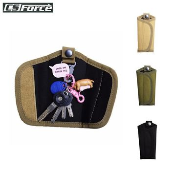 CS Force Tactical Key Pouch Belt Pouch Outdoor Waterproof Men EDC Pouch Key Holder Carabiner Keychain Case Leather 600D Nylon
