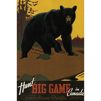 HUNT big game in CANADA vintage travel poster THOMAS HALL 1938 24X36 bear