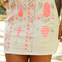 Because Of You Skirt: White/Multi