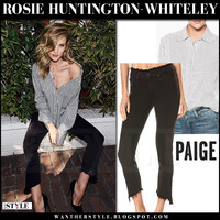 Rosie Huntington-Whiteley in striped shirt and black frayed hem jeans in Paige '17 campaign
