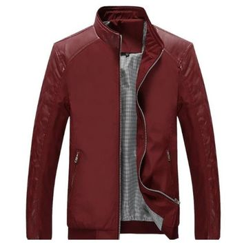 Mens Stand Collar Bomber Biker Jacket