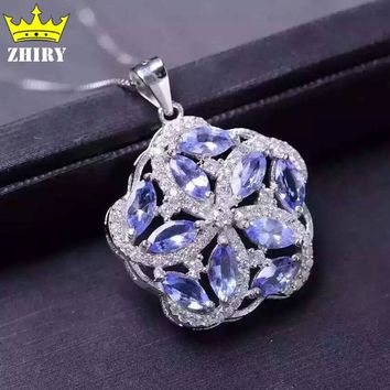 Women Natural Tanzanite Gems Stone Pendant 925 Sterling Silver Necklace Present Jewelry