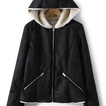Black Long Sleeve Hooded Zip Pocket Jacket