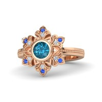 Round London Blue Topaz 14K Rose Gold Ring with Diamond & Sapphire