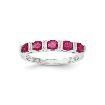 14K White Gold African Ruby Five Stone Ring