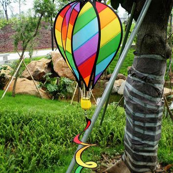 Striped Rainbow Windsock Hot Air Balloon Wind Spinner Yard Garden Decor Kids Toy Outdoor Camping Play