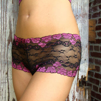 Black and Pink Lace Panties Made To Order Lingerie - 'Forget Me Not' Style Underwear