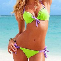 Romantic moments — Sexy Bowknot fluorescent green Bikini