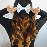 Mint Chevron Hair Bow