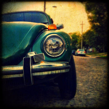Dark Green Beetle Photograph, Car Photography, iPhoneography, Rustic, Textured Photo, Square Photo,