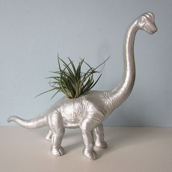 Upcycled Dinosaur Planter - Extra Large Silver Brontosaurus with Air Plant