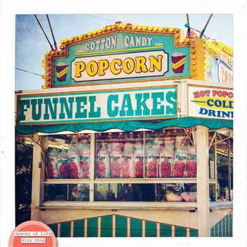 Square printable wall art, summer fair, carnival, digital download, vintage fine art photography, food stand, cotton candy, funnel cakes
