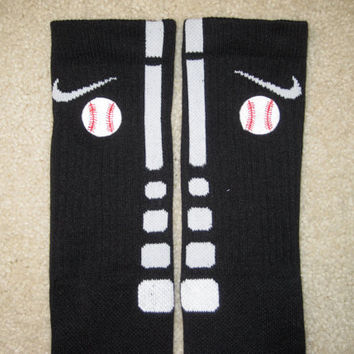 SPORTS BASEBALL Custom Nike Elite Socks Black w/ by ParsonsPlace4