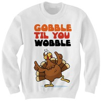 Gobble Til You Wobble Sweatshirt Thanksgiving Shirt Ladies Tops Unisex Tee Tees Holiday Art Thankgiving Kids Shirt Womens Mens ClothesTurkey Shirt from CELEBRITY COTTON