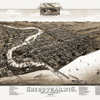 Vintage Map of Sheboygan Wisconsin 1885 Sheboygan County