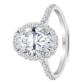 .1.23 Carat GIA Certified 14K White Gold Halo Oval Cut Diamond Engagement Ring (0.73 Ct E Color VS1 Clarity Center)