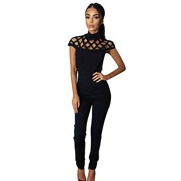 Summer mesh Elegant Women Fitness Rompers Sheer Jumpsuit One Piece Bodysuit Sleeveless Sexy Club lace Bodycon Long Pant Playsuit
