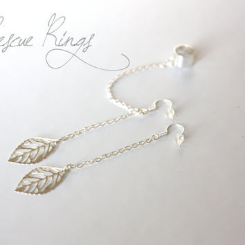 Silver Leaf Filigree Ear Cuff Double Chain Earrings