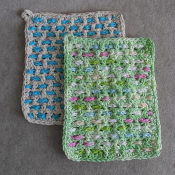 Crochet Cotton Weave Wash Cloths: greens blue pink & beige blue (choose 1)