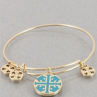 Womens Bracelets Gold Teal Blue Isis Coptic Cross Bangle Bracelet. Hook Closure. Size : 2.5 Inch.