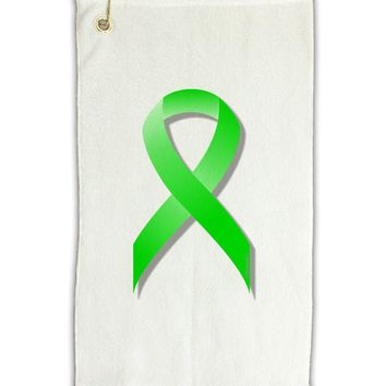 "Lyme Disease Awareness Ribbon - Lime Green Micro Terry Gromet Golf Towel 11""x19"