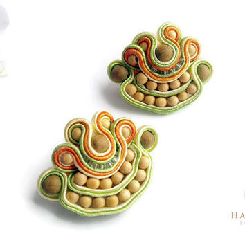 Soutache natural color Brooch, Women Yellow Brooch, Accessorizes for women, Soutache accessorize gift, Unique brooches, Women set brooches
