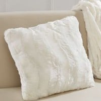 Plush Luxe Ivory Faux Fur Throw Pillow 18'' x 18''