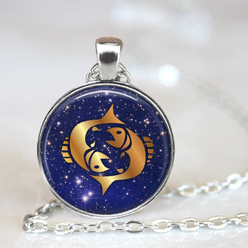 Pisces Pendant, Zodiac Jewelry, Pisces Necklace, Astrological Sign, Pisces Jewelry, Astrology
