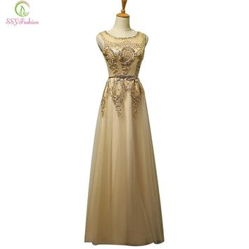 Fashion Luxury Gold Lace Beading Sleeveless Long Evening Dress Bride Banquet Elegant Party Prom Dress Custom Formal Dresses